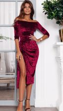 Off Shoulder Velvet Red Cocktail Dress