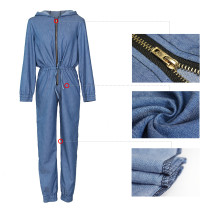 Long Sleeve Casual Denim Jumpsuit with Hood