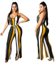 Wide Strippes Colorful Strap Jumpsuit