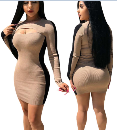 Sexy Nude Cut Out Bodycon Dress