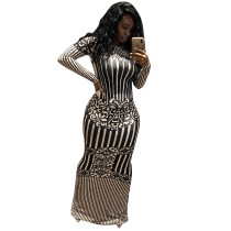 White and Black Stripped Long Dress with Sleeves