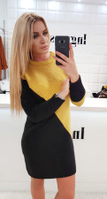 Block Color Long Sleeve Knitted Mini Dress