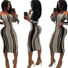 Off Shoulder Stripped Print Bodycon Dress with Sleeves
