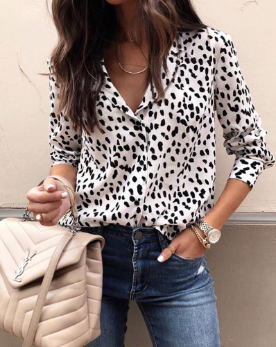 Long Sleeve Sexy and Chic Leopard Blouse