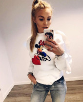 Print Cartoon Ruffles Sweat Shirt with Sleeves