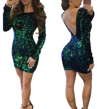 Sequins Green Long Sleeve Club Dress with Low Back