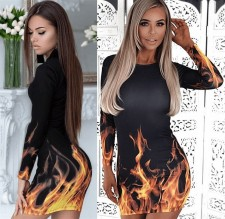 Flame Print Long Sleeve Bodycon Dress