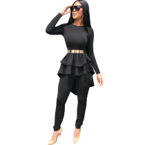 Black Two-Piece Ruffles Formal Set