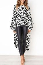 Occassional High Low Leopard Top with Pop Sleeves