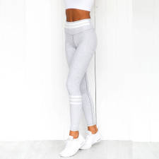 Strippes Leggings de yoga fitness blancs et violets