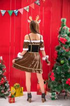 Fato de Xmas Elk Brown Dress