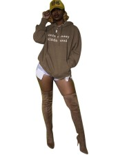 Print Brown Loose Hoody Top