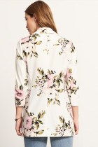 Floral Print Long Blazer with Turndown Collar