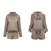 Short Plush Lazy Hoody and Shorts