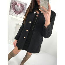 Short Plush Bottoned Up Long Sleeve Coat