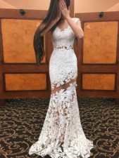 White Floral Lace Long Evening Dress