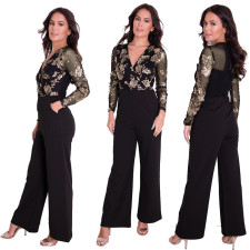 V-Neck Sequins Long Sleeve Black Jumpsuit