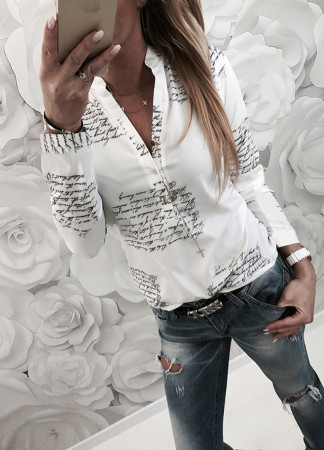Print White Long Sleeve Blouse