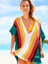 Multi-Color Wide Stripped Cover Ups