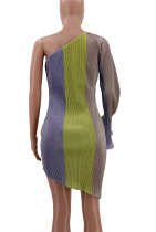 Multi-Color Club Dress with Single Sleeve