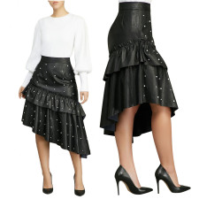 Black leather Irregular Bead Skirt