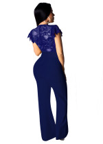 Lace Upper Short Sleeve Formal Jumpsuit