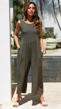 Wide Legges Sleeveless Casual Jumpsuit