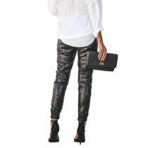 Sequins Black Casual Pants
