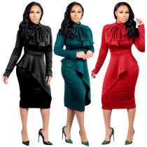Long Sleeve Ruffles Office Dress with Big Bow