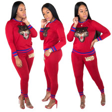 Sequins Long Sleeve Round Neck Sweat Suit
