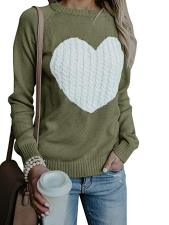 Heart Print Contrast Long Sweater