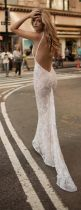 White Lace Scoop Evening Dress