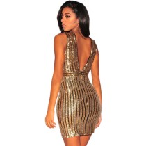 Sequins Gold Sleeveless V-Neck Party Dress