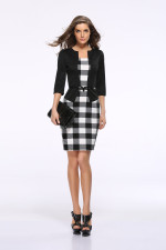 Block Color Print 3/4 Sleeve Office Dress