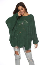 Loose-fitting Hollow Out Sweater with Bat Sleeves