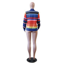 Wide Strippes Colorful Long Sleeve Jacket