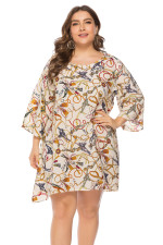 Plus Size 3/4 Sleeve Print Lazy Dress