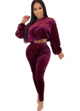 Red Velvet Long Sleeve Crop Top and Pants