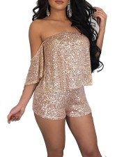 Sequins Gold Strapless Rompers