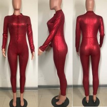 Sequins Red Long Sleeve Jumpsuit