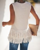 Sleeveless Sweater with Fringe Hem