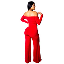 Long Sleeve Sweetheart Red Jumpsuit