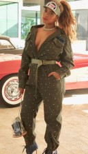 Army Green Casual Jumpsuit with Full Sleeves