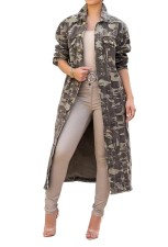 Green Camou Long Coat with Full Sleeves