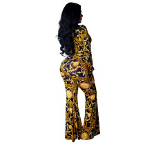 Gold and Black Print Long Sleeve Plung Jumpsuit