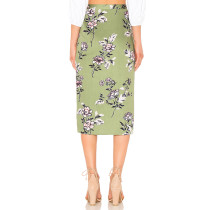 Floral Green Knee-Length Skirt