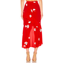 Red Floral Long Wrapped Skirt