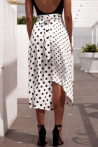 White and Black Dot Irregular Long Dress