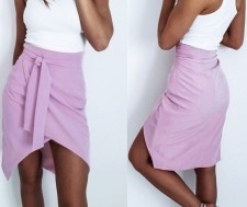 Purple Irregular Mini Skirt with Belt