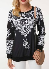 Print Retro Long Sleeve Sweat Shirt